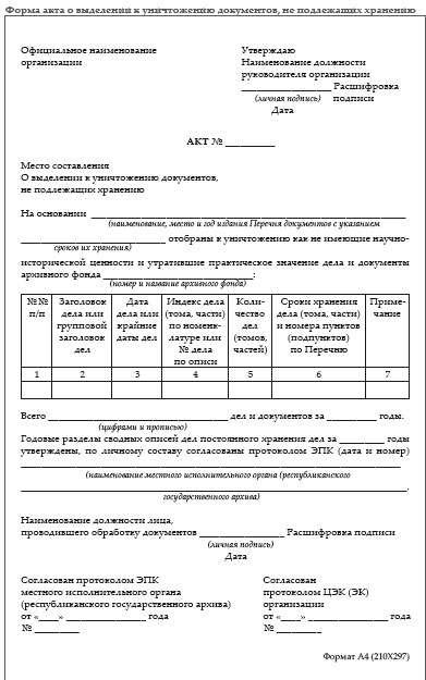 Составление акта о выделении к уничтожению документов и дел уничтожение личных дел с истекшим сроком хранения